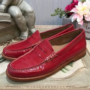 Bass Weejuns Red Patent Leather Loafers